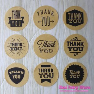 Wholesale 9 Design Kraft Style Thank You Circle Seal Sticker Creative DIY Gift Paper Sticker For Party Favor Candy Bag Box Decoration