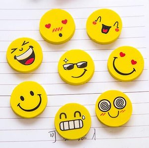 Wholesale 4pcs hotsale school office supplies cute cartoons smile face round rubber pencil eraser stationery