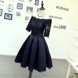 New Arrival Half Sleeve Prom Dresses Mini Short Lace Homecoming Dresses Satin Lace Up Back Graduation Dresses on Sale