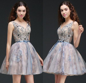 Wholesale princess cocktail dresses for sale - Group buy 2018 New Designer Short Homecoming Dresses V Neck Embroidery Tulle Mini Cocktail Dress Princess Prom Gowns CPS667