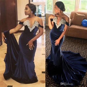 Wholesale Sexy V Neck Crystals Mermaid Prom Dresses Off Shoulders Plunging V Neck Vestidos De Fiesta Arabic Evening Party Gowns Dark Blue Velvet