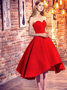 Classic Princess Sweetheart Satin with Ruffles Asymmetrical Red High Low Prom Dresses 2018 Cocktail Dresses on Sale