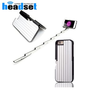caja del teléfono palo selfie al por mayor-2in1Para iPhone6 Plus Stickbox TELÉFONO SELFIE STICK obturador remoto bluetooth convenienteFashionable teléfono móvil shell con hidde