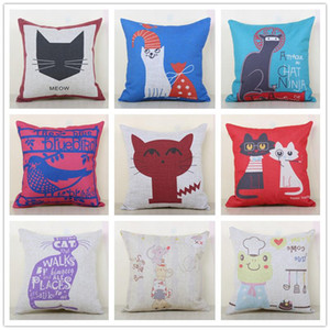 Wholesale Cotton Pillowcase Car Cushion Animal Cartoon Customizable Pillow Slip Cats Birds Frog Cushions Cover Multi Color Option New Arrival rr A R