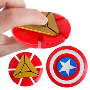 Wholesale DHL FREE Creative Captain America Shield Hand Spinner Iron Man Fidget ABS Plastic Puzzle Toys EDC Autism ADHD Finger Gyro Toy Adult Gifts