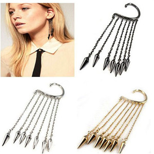 Wholesale 2017 New Style Lady s Ear Cuff Fashion Trends Pendant Ear Clip Exaggerated Tassel Rivet Pattern Earrings