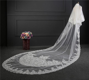 Wholesale 2017 Custom Made Wedding Veil Real Picture Stunning Two Layers White Ivory Meter Long Lace Applique Tulle Cathedral Bridal Veils EN7126
