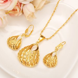 Wholesale Fashion Bag Pendant Earring Set Women Party Gift Real k Yellow Fine Solid Gold Filled Necklace Earrings Jewelry Sets