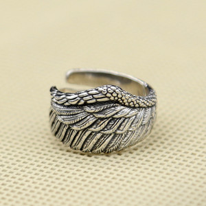 Wholesale 925 sterling silver fashion jewelry vintage style band ring eagle wing design open end adjustable for men and women