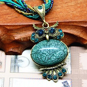 Wholesale New Bohemia Necklace Vintage Style Fashion Jewelry Oval Opal Pendant Night Elves Owl Set Crystal Necklace