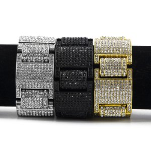 Wholesale Men Women Hip hop Wide I Square Shape Rhinestones Bracelet Bangle Bling Imitation diamond Chains Link Wristbands Fine Jewelry
