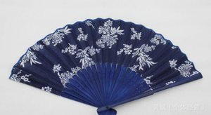 Hot Festive Classical flower design Chinese style blue fabric hand fan with dyed blue bamboo frame Wedding Party Favor