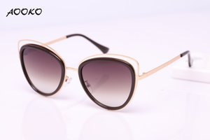 Wholesale AOOKO AK7923 High Quality Cat Eye Female Sunglasses Gold Metal Oculos de sol Reflective Summer Lady Pink Sun Glasses Vintage Sexy Shades