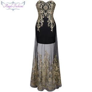 Wholesale Angel-fashions Women Strapless Embroidery Lace Sheer Illusion Column Maxi Party Dresses Prom Gowns for Women 189