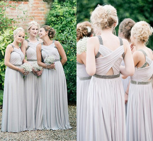 2017 New Bridesmaid Dresses V Neck With Crystal Beaded Hollow Back Custom Long Floor Length For Wedding Guest Dress Maid of Honor Gowns on Sale