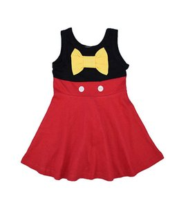 3 style New baby girls Mermaid snow White Mickey dress summer cartoon Children Bow princess dresses Kids Clothing