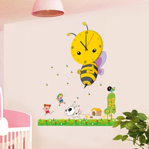 Wholesale- 3D DIY Cartoon Wall Clock modern design Bee Sticker  clocks with wall paper decoration for living room bedroom home decor