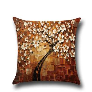 Three-dimensional oil painting trees flower cushion pillow cover car waist cushion cover