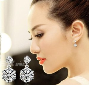 Wholesale New White Double Six Claw Love Charm Swiss Diamond Stud Earrings set in k White Gold Plated pairs
