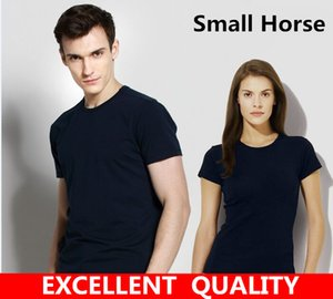 Wholesale High Quality Fashion T Shirt Small Horse Embroidery Design Summer Cotton Men O neck Short Sleeve T Shirts Brand Clothing Tees Plus Size XL