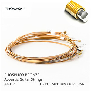Wholesale Sets AMOLA Acoustic Guitar Strings A6077 Guitar Strings Phosphor Bronze With NANOWEB Ultra Thin Coating LIGHT MEDIUM