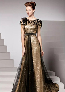 Elegant Gold Sequined Long Evening Dresses 2017 Black Tulle Short Sleeves Sweep Train Formal Party Gowns Robe De Soiree on Sale