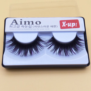2017 New False Eyelashes Black And Purple Exaggerated Thick False Eyelashes Lengthening Smoked Makeup Cross False Eyelashes