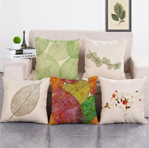 Wholesale 6 Styles Fashion Pillow Case Autumn Leaves Cover Home Sofa Car Decor Linen Cushion Thermal Transfer