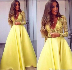 2018 Elegant Yellow Dubai Abaya Long Sleeves Evening Gowns V neck Lace Dresses Evening Wear Prom Party Dresses on Sale