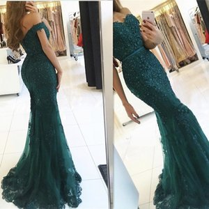 2019 New Sheer Off Shoulder Mermaid Long Prom Dresses Black Girls Gold Lace Applique Sweep Train Formal Party Evening Gowns on Sale