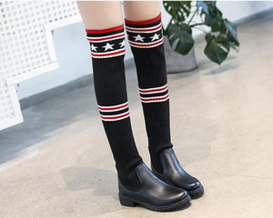 Wholesale Women Boots Autumn Winter Ladies Fashion Flat Bottom Boots Shoes Over The Knee Thigh High Suede Long Boots college style Brand