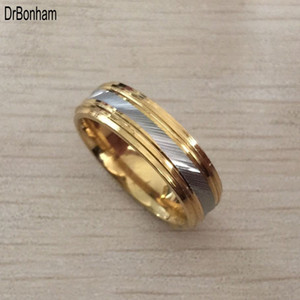 Wholesale Punk Rock Style Gold silver strip Ring Mens Fashion Chunky Finger Bling Size Retro Titanium Steel Rings