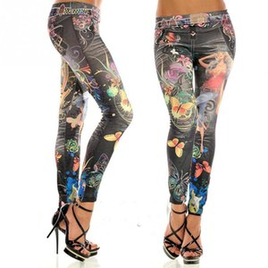 Wholesale New Fashion Sexy Women Leggings Buttlefly Flower Printed Imitation Jeans Elastic Slim Punk Style Faux Denim Pencil Pants