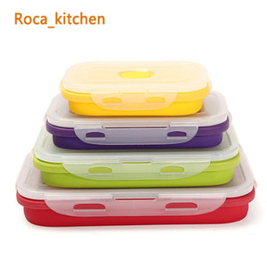Wholesale lunch boxes for sale - Group buy Foldable Silicone Lunch Boxes Set Food Storage Containers Household Food Fruits Holder Camping Road Trip Portable Houseware