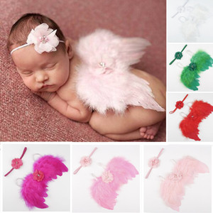 Wholesale Baby Angel Wing Crystal Pearl Chiffon flower headband Photography Props Set newborn Pretty Angel Fairy feathers Wing Costume Photo Prop