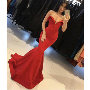 Wholesale Free Shipping Glamorous Red Evening Dresses 2019 Off the Shoulder Sweetheart Sleeveless Floor Length Mermaid Prom Gowns