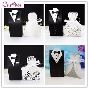 Wholesale 100Pcs Bride and Groom tuxedo dress gown Wedding Favor Candy Gift box wedding favors gift party