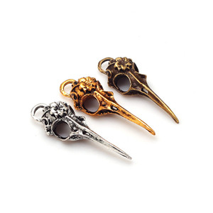 Wholesale Three Colors Fashion Vintage Metal Zinc Alloy D Skull Bird head Charms Fit Jewelry Making Pendant Charms
