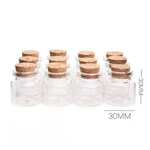 Wholesale Mini Glass Bottles With Cork Wood ml Transparent Glass Bottle Jars Vials Clear Drift Bottle x30mm Storage Container