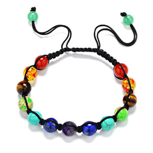 Wholesale Hot Sale Trendy Hand woven Chakra Bracelets For Men Women Rhinestone Reiki Prayer Stones Healing Balance Beads Bracelet