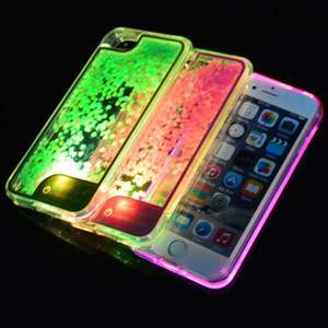 Wholesale For iPhone Plus S Plus TPU LED Light Liquid Glitter Case Quicksand Bling Bling Shining Soft Cover Retail Packaging