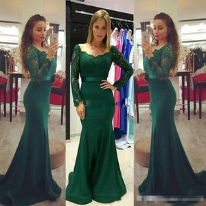 Wholesale Elegant Dark Green Mermaid Prom Dresses Long Sleeves Lace Bodice Satin Sweep Train 2017 Elegant Formal Evening Pageant Party Gowns With Sash