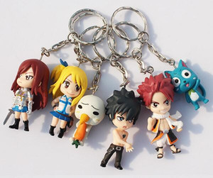 Wholesale 6Pcs Set Fairy Tail Figure Character With Keychain Pendant PVC Dolls Toys Great Gift cm Approx
