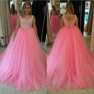 New Long Hotpink Prom Dresses Spaghetti Straps Ball Gown Diamonds Beads Tulle Floor Length Party Gowns Custom Size