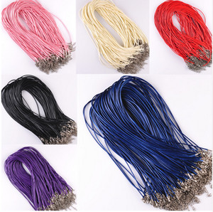 Wholesale 100Pcs Leather Chains necklace Pendant Charms With Lobster Clasp DIY Jewelry Making Findings String Cord mm
