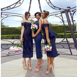 Wholesale Navy Blue Series Bridesmaid Dresses Applique Off Shoulder Column Formal Evening Dress Tea Length Zipper Back Maid of Honor Gown