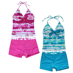 Wholesale Two-piece Off Shoulder Swimsuit Halter Swimwear Short Swim Trunks Geometric Printed 5 Sizes Pink Blue For Baby Toddler Girls Kids Summer