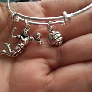 12pcs Volleyball-Bracelet with volleyball and volleyball player charms