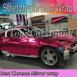 Wholesale wrapped car red chrome for sale - Group buy Best Quality Stretchable Rose Red Chrome Mirror Vinyl Wrap Film for Car Styling foil air Bubble Free Size M Roll ft x67ft
