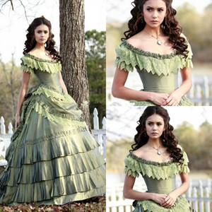 Wholesale Sage Taffeta Vintage Masquerade Ball Gowns Prom Dress Nina Dobrev Tiered Skirts Plus Size Quinceanera Dresses vestidos anos